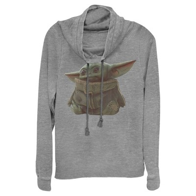 Junior's Star Wars The Mandalorian The Child Portrait Cowl Neck Sweatshirt