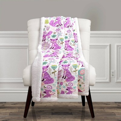 "50""x60"" Pixie Fox Throw Purple - Lush Décor"