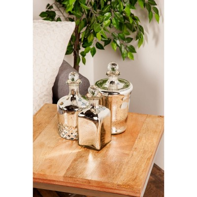 Set of 3 Decorative Traditional Glass Bottle Jars with Stoppers Silver - Olivia & May