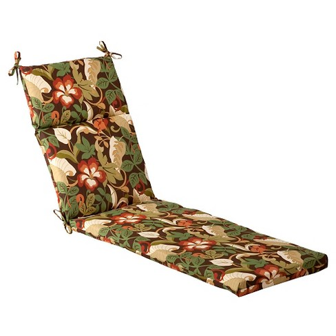 Outdoor Chaise Lounge Cushion - Brown/Green Floral : Target
