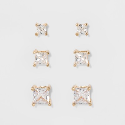 Women's Fashion Trio Crystal Square Stud Earring Set 3pc - A New Day™ Silver/Gold