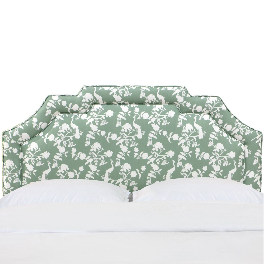 California King Notched Border Headboard in Peacock Silhouette Green - Cloth & Co.