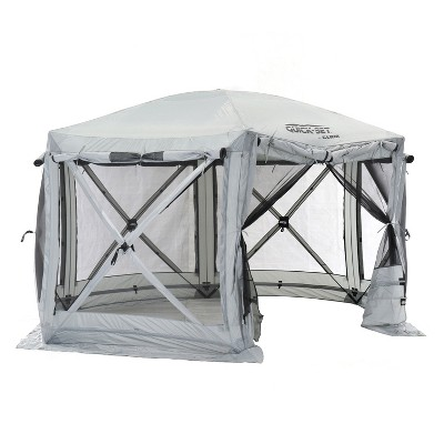 CLAM Quick-Set Pavilion 12.5 x 12.5 Foot Portable Pop-Up Outdoor Camping Gazebo Screen Tent 6 Sided Canopy Shelter w/ Ground Stakes & Carry Bag, Gray