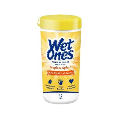 Wet Ones Antibacterial Hand Wipes Canister - Tropical Splash - 40ct