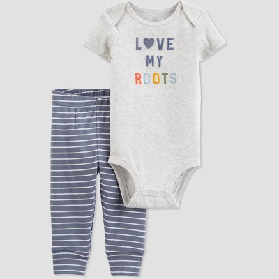 Baby 2pc 'Love My Roots' Top and Bottom Set - Just One You® made by carter's Gray 9M
