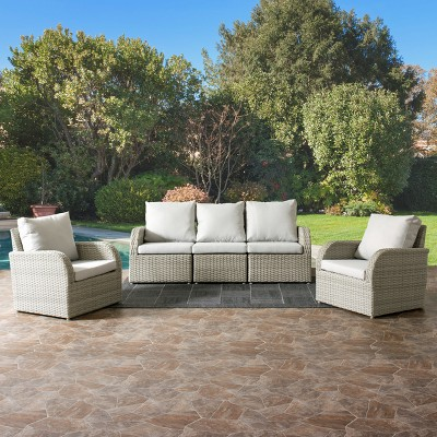 Brisbane 5pc Resin Wicker Sofa And Chair Patio Set With Weather Resistant  Fabric   CorLiving : Target