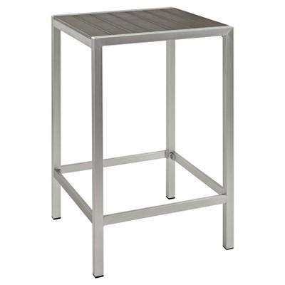 Shore Outdoor Patio Aluminum Square Bar Table - Silver/Gray - Modway