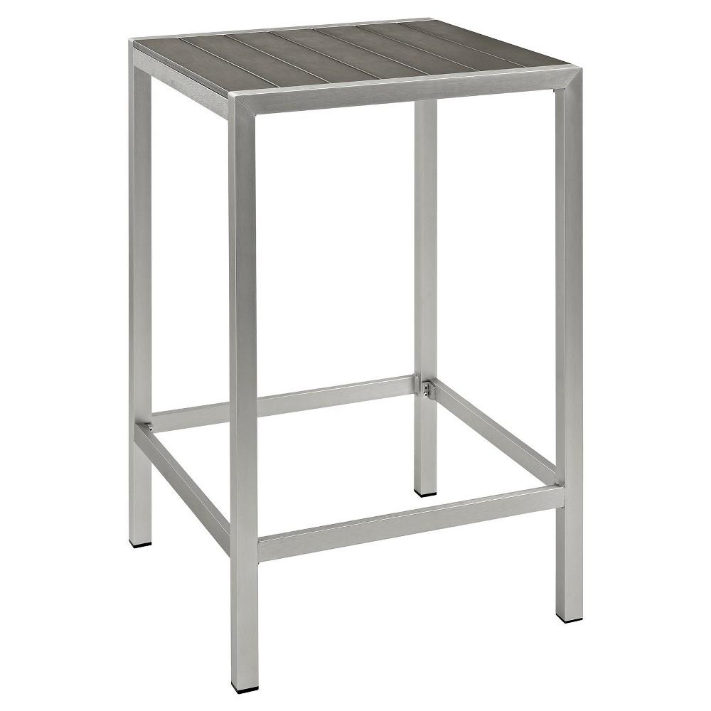Shore Outdoor Patio Aluminum Square Bar Table - Silver/Gray - Modway, Light Silver