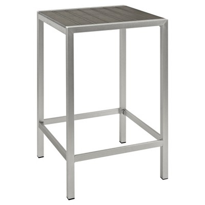Shore Outdoor Patio Aluminum Square Bar Table   Silver/Gray   Modway