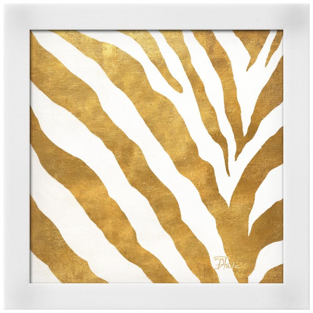 Gold Contemporary Zebra (gold foil) White Wood Framed Art Print