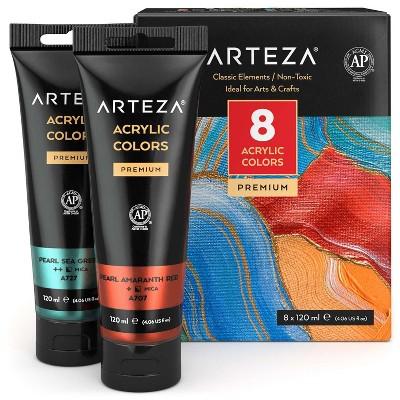 Arteza Acrylic Artist Paint Set, Metallic, 120ml Tubes, Assorted Classic Colors, Non-Toxic - 8 Pack (ARTZ-3513)