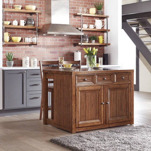Awe Inspiring Sedona Quartz Top Kitchen Island 2 Stools Brown Home Styles Pabps2019 Chair Design Images Pabps2019Com