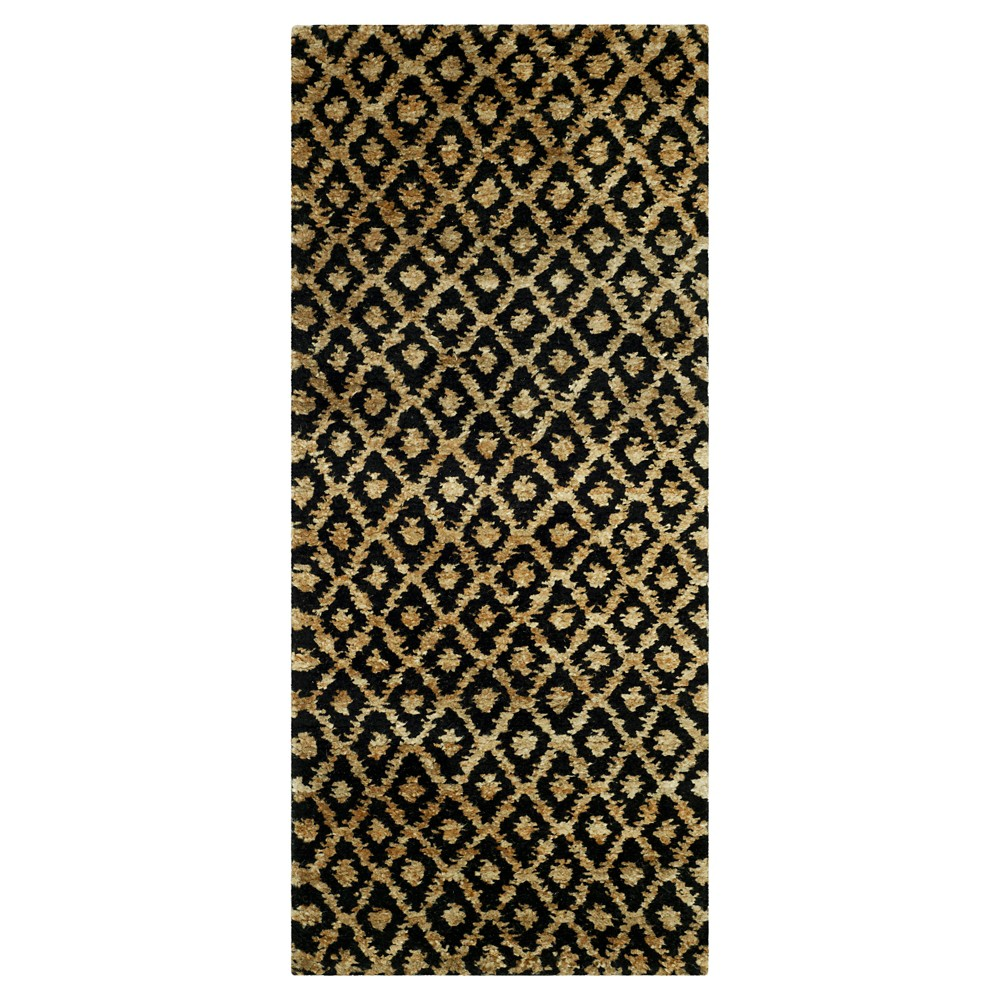 Black/Gold Stripe Tufted Runner 2'6X6' - Safavieh, Gold Black