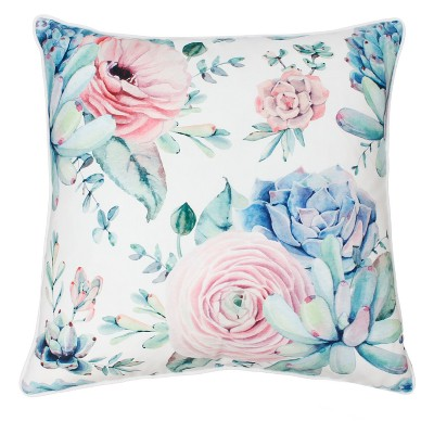 Décor Therapy 20 x20  Arianna Cindy Succulent Throw Pillow White