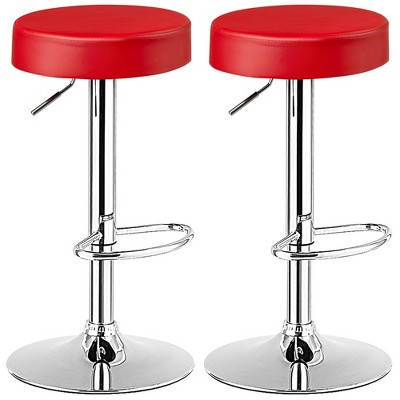 Costway Set of 4 Round Bar Stool Adjustable Swivel Pub Chair w/ Footrest White\Red\Black
