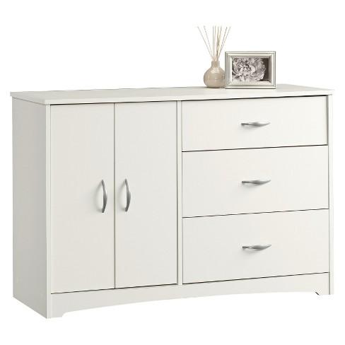 Beginnings 3 Drawer Dresser With Double Door Adjule Shelf Storage Soft White Sauder Target