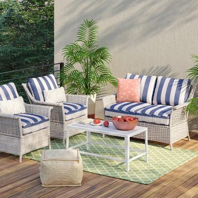 c30d2453535 Bar Harbor 4pc Cabana Stripe Patio Conversation Set - Navy White -  Threshold™