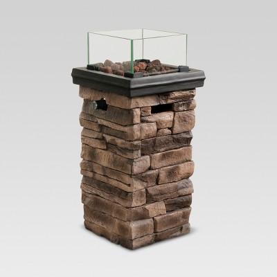 Chisholm 22  Tall Square LP Fire Column - Natural Stone - Threshold™