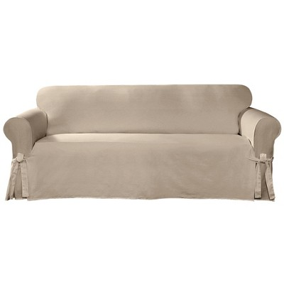 Cotton Canvas Relaxed Fit Slipcover Sofa Tan - Sure Fit
