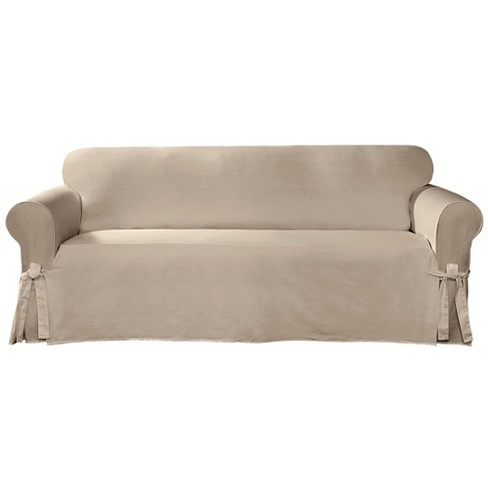 Cotton Canvas Relaxed Fit Slipcover Sofa - Sure Fit - image 1 of 3