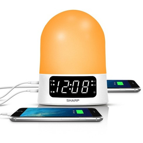 Sunrise Simulator Alarm Clock with Blue Tooth Or USB ports White - Sharp