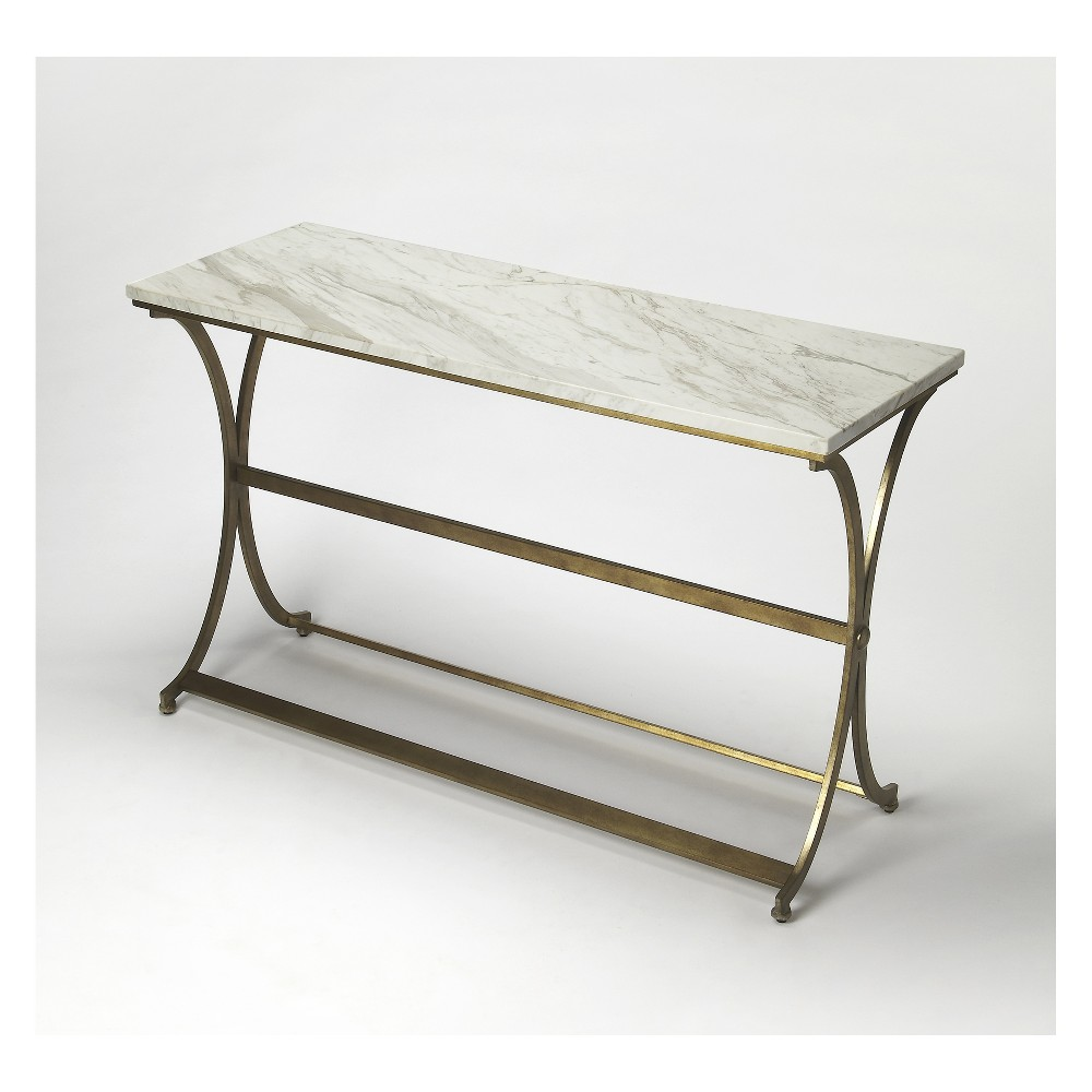 Butler Specialty Pamina Travertine Console Table Antique Gold