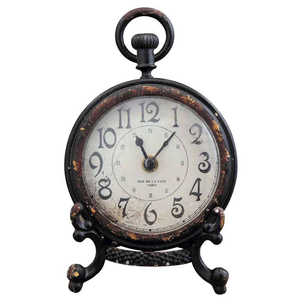 Image of Pewter Mantle Clock with Stand Black - 3R Studios