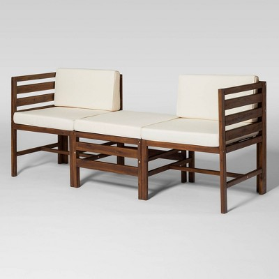 Modular Outdoor Acacia L/R Chairs + Ottoman - Saracina Home
