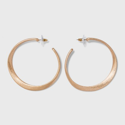 Sculpted Worn Gold Post Hoop Earrings - Universal Thread™ Gold