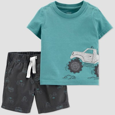 Baby Boys' 2pc Monster Truck Top & Bottom Set - Just One You® made by carter's Teal/Charcoal Gray 3M