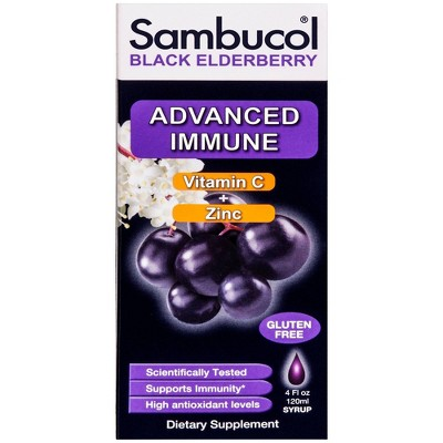 Sambucol Immune Vitamin C + Zinc Syrup - Black Elderberry - 4 fl oz