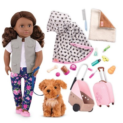 "Our Generation Malia & Passenger Pets Bundle 18"" Fashion Doll & Pet Travel Set"