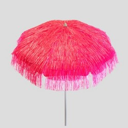 6' Tropical Palapa Patio Umbrella Pink - Parasol