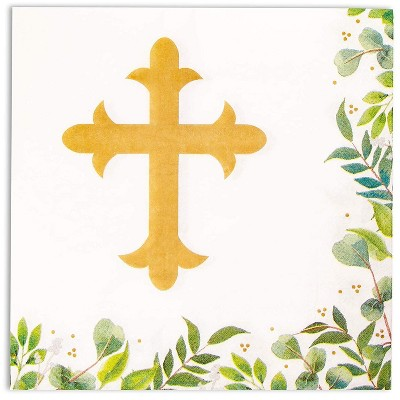 Sparkle and Bash 100Pcs Church Paper Disposable Napkin for Easter Baptism, Christening Party Decorations, 6.5""