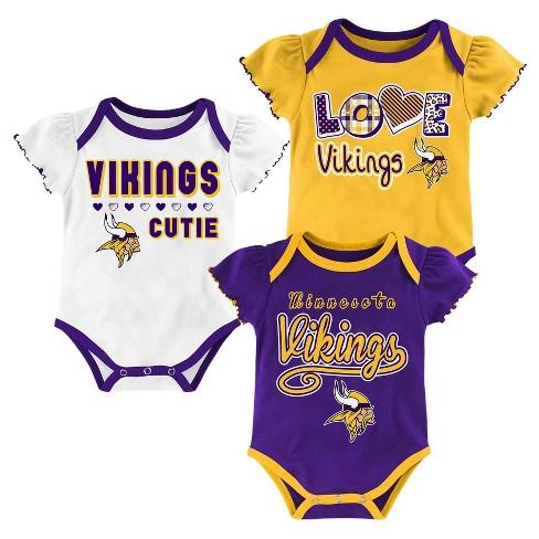 59dd2c85c Minnesota Vikings Baby Girls  3pk Bodysuit Set - 6-9 M   Target