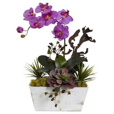 Orchid & Succulent Garden with White Wash Planter Purple - Nearly Natural