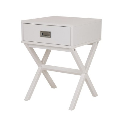Wooden Xleg End Table with Drawer White - Glitzhome