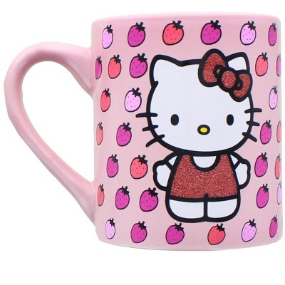 Silver Buffalo Hello Kitty Glitter Strawberry 14oz Ceramic Mug