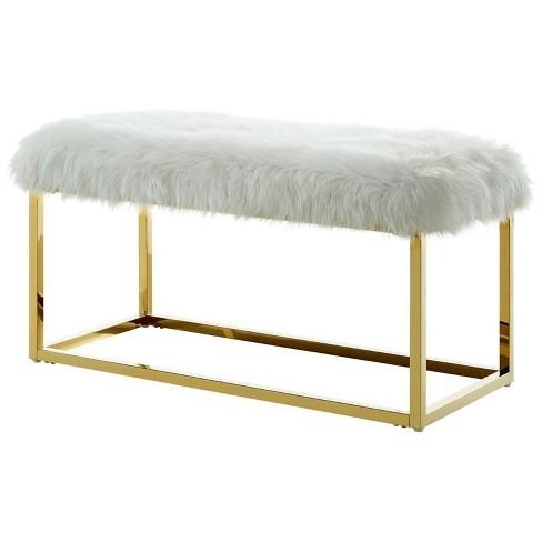 Joseph White Faux Fur Bench - Goldtone Frame - Ottoman in White - Posh Living - image 1 of 3