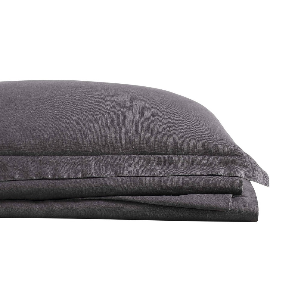 Image of California King 300 Thread Count Linen Solid Sheet Set Charcoal - Brooklyn Loom, Grey