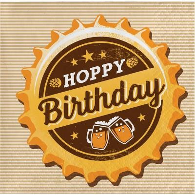 """48ct """"Hoppy Birthday"""" Beverage Napkins"""