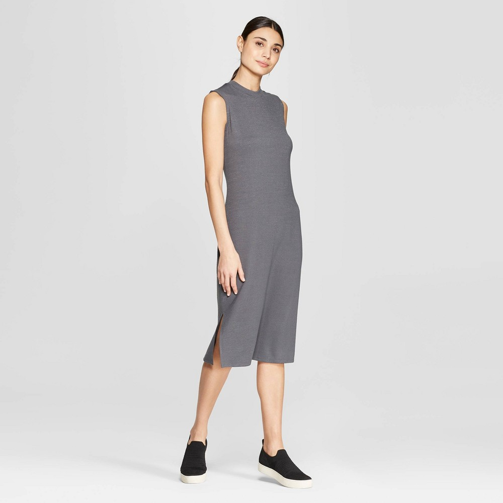 Women's Sleeveless Scoop Neck Midi Bodycon Dress - Prologue Gray XS