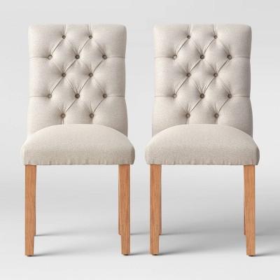 2pc Brookline Tufted Dining Chair Beige Textured - Threshold™