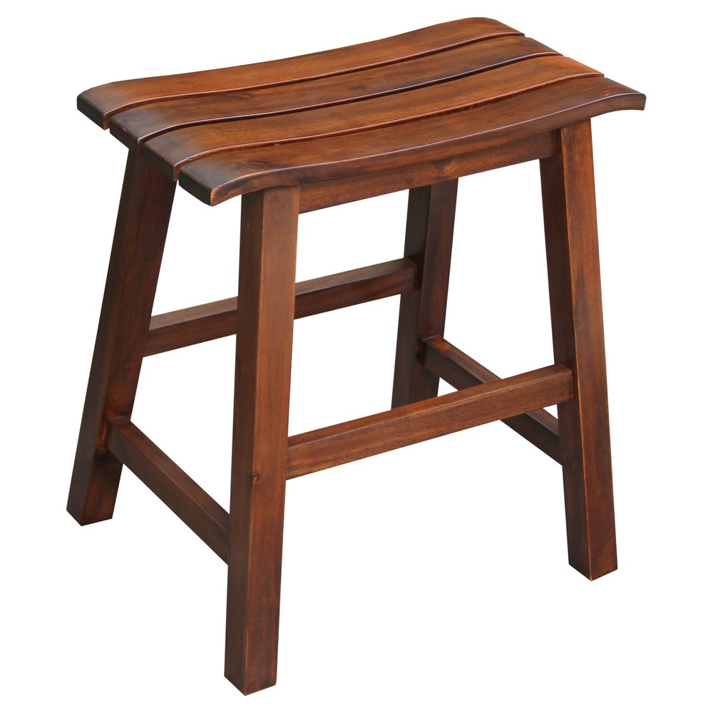 "Image of ""18"""" Slat Seat Stool Espresso - International Concepts"""