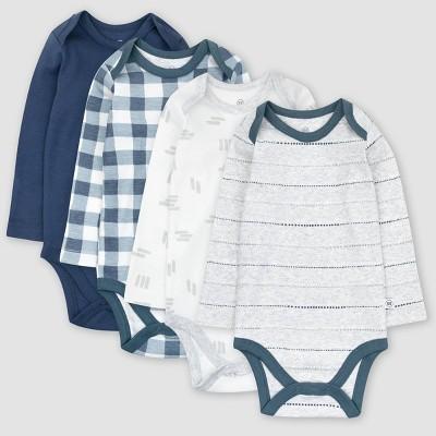 Honest Baby Boys' 4pk Organic Cotton Painted Buffalo Long Sleeve Bodysuit - Navy/White/Gray 3-6M