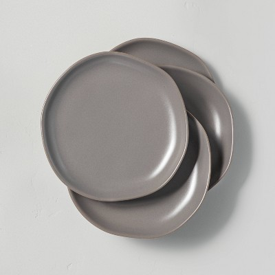 4pk Stoneware Appetizer Plate Set Matte Gray - Hearth & Hand™ with Magnolia