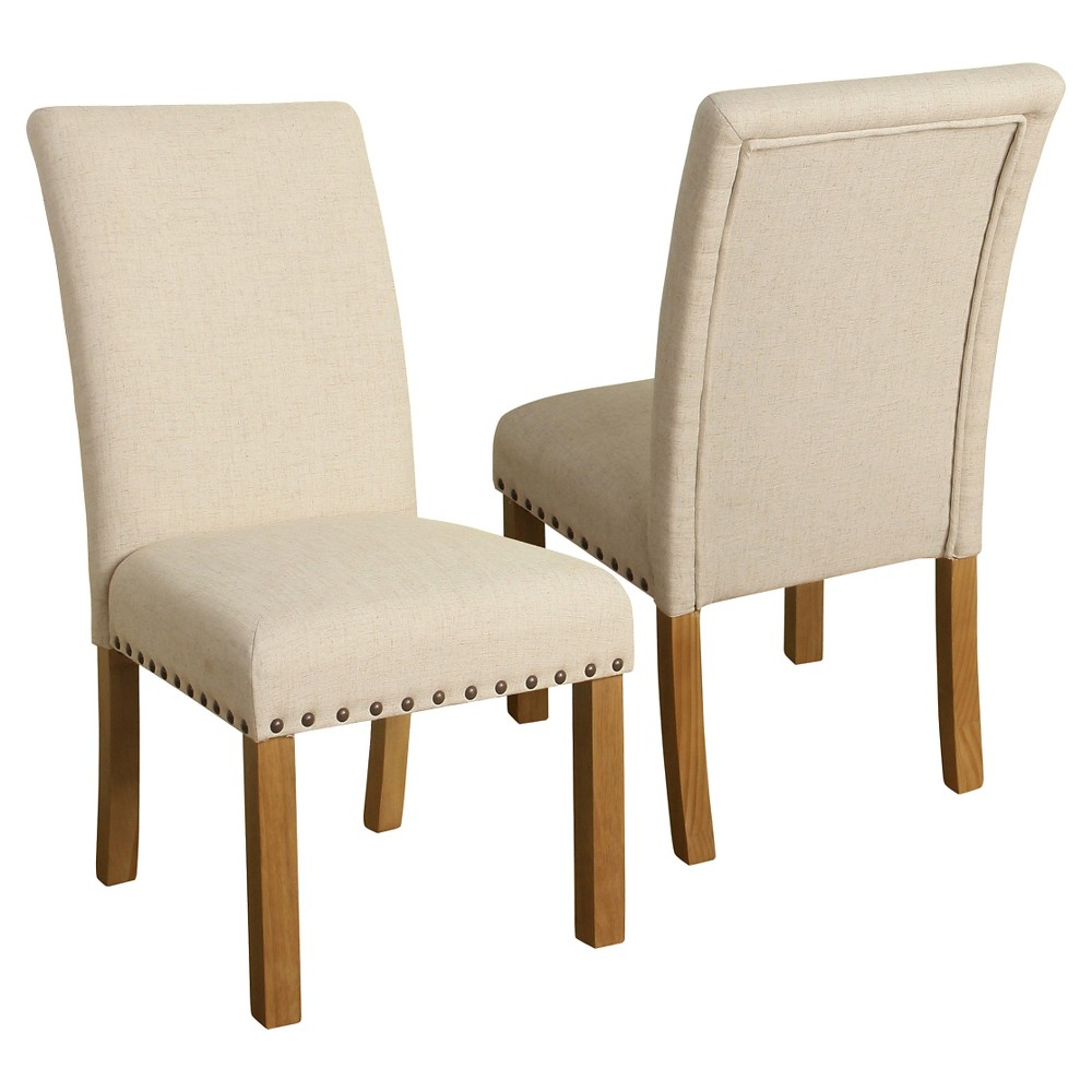 Set of 2 Michele Dining Chair with Nailhead Trim Natural - HomePop was $219.99 now $164.99 (25.0% off)