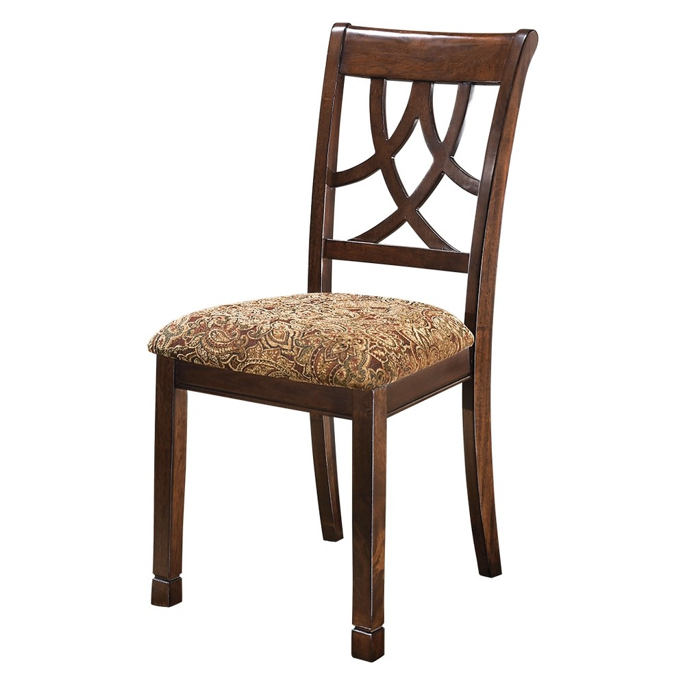 Image of 2pc Leahlyn Dining Upholstered Side Chair Medium Brown - Signature Design by Ashley