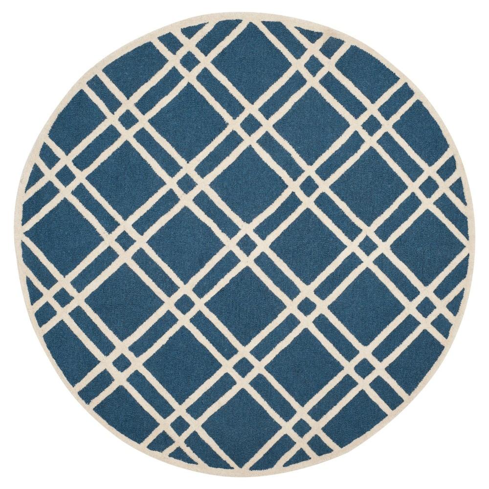 Frey Textured Wool Rug - Navy / Ivory (6' Round) - Safavieh, Blue/Ivory