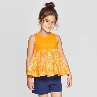 Toddler Girls' Knit Woven Blouse - Cat & Jack™ Orange 12M